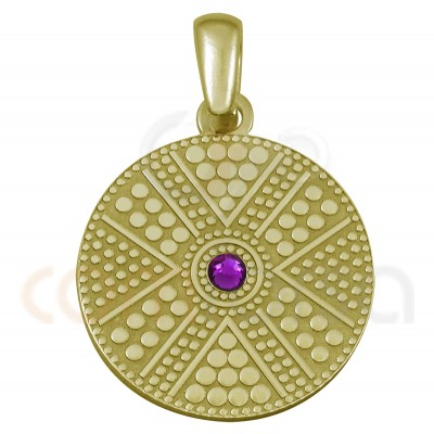 Gold plated sterling silver round ethnic pendant with fucshia strass 20 mm