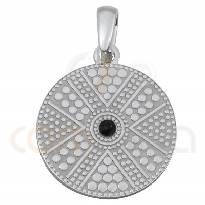 Gold plated sterling silver round ethnic pendant with jet strass 20 mm