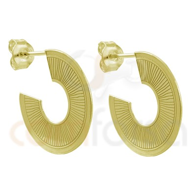Gold plated sterling silver 925 flat striped earring 22mm