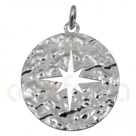 Sterling silver 925 hammered polar star pendant 20 mm