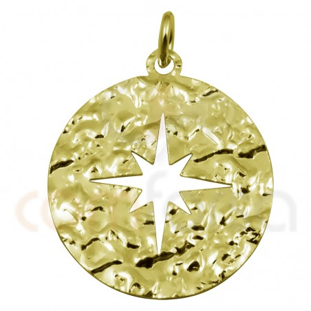 Sterling silver 925 gold-plated hammered polar star pendant 20mm