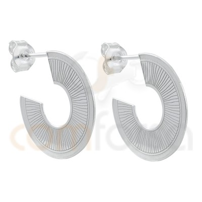 Sterling silver 925 flat striped earring 22mm