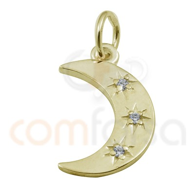 Sterling silver 925 moon with star and zirconia pendant