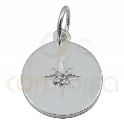 Sterling silver 925 gold-plated polar star zirconia pendant 15 mm