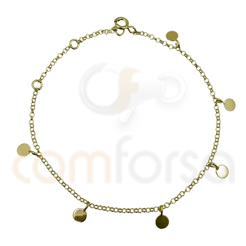 Sterling silver 925 gold-plated 4 mm smooth pendant bracelet