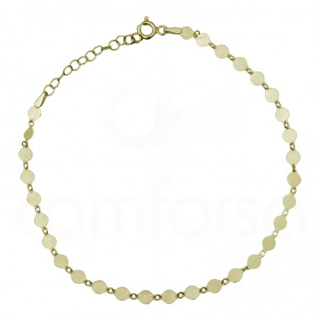 Sterling silver 925 gold-plated anklet with round charms