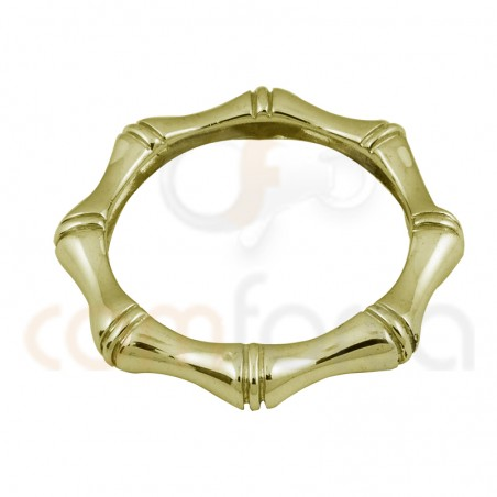 Gold plated sterling silver bamboo ring 3 x 3 mm