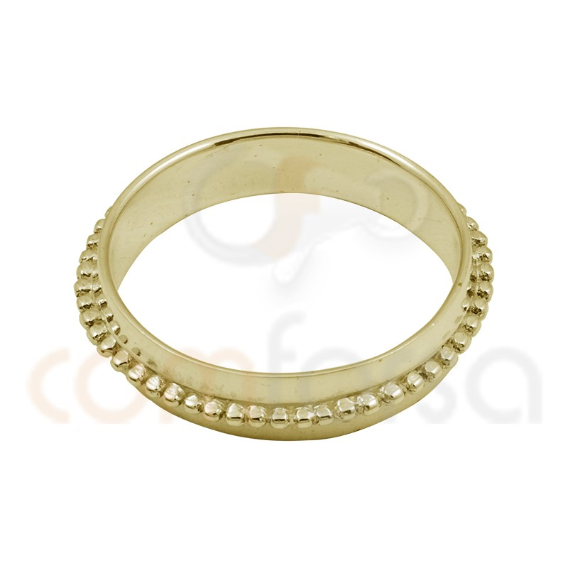 Bubble texture gold plated sterling silver ring  5mm