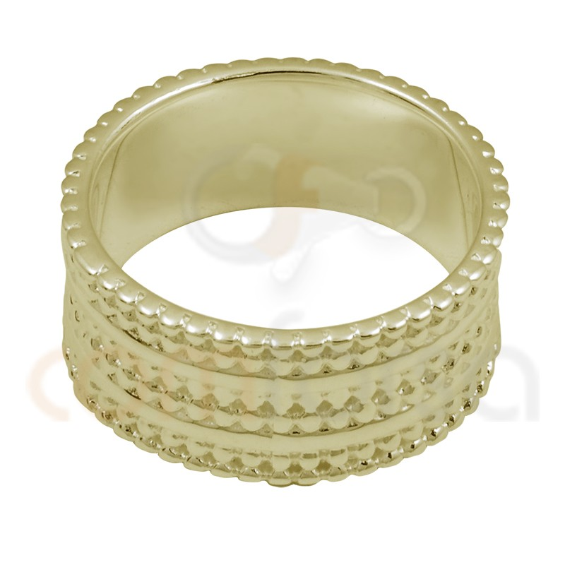 Bubble texture sterling silver ring gold plated 8mm