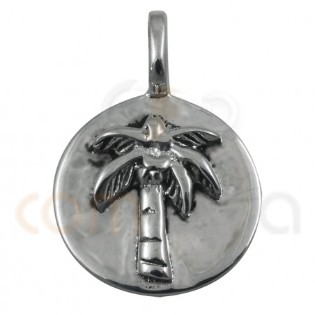 Palm tree sterling silver pendant 15mm