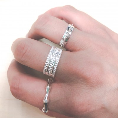 Bubble texture sterling silver ring 8mm