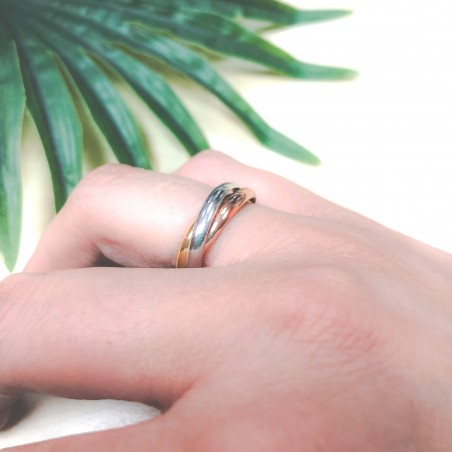 Tri-colour sterling silver crossed ring 2.6 mm