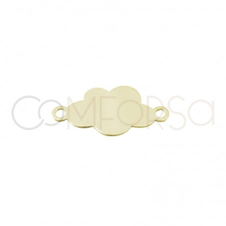 Gold plated silver cloud plate connector 14 mm