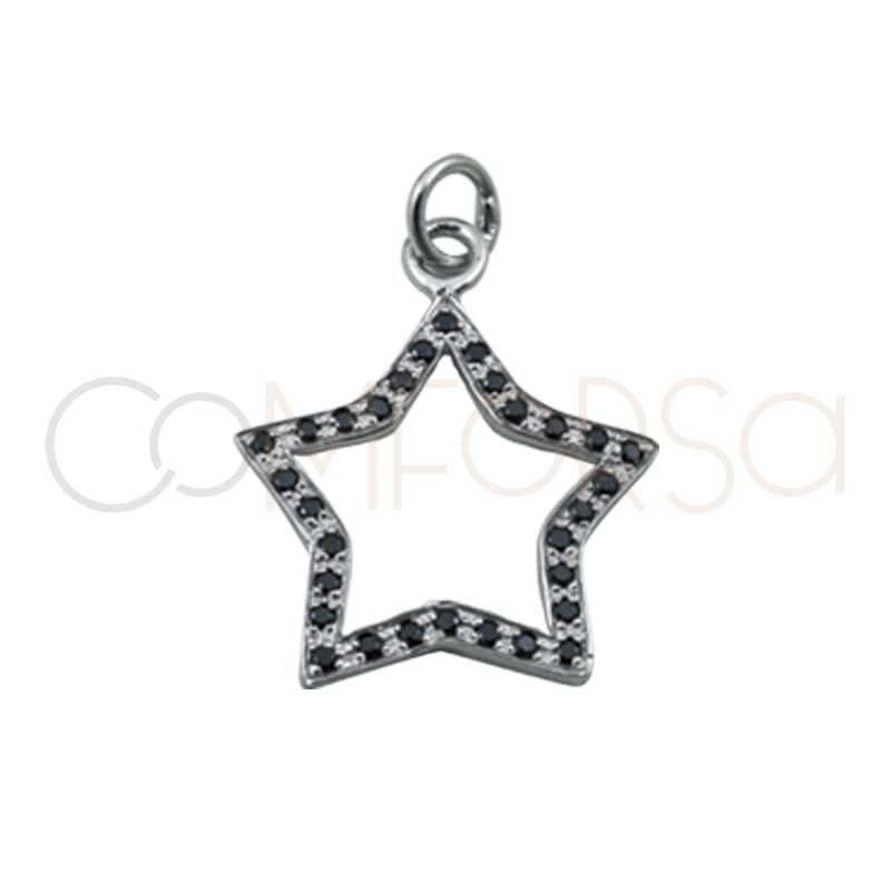 Colgante estrella circonitas negras 15 mm plata 925