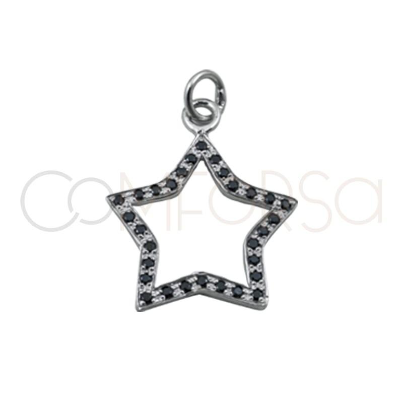 Sterling silver 925 star pendant black zircons 15 mm