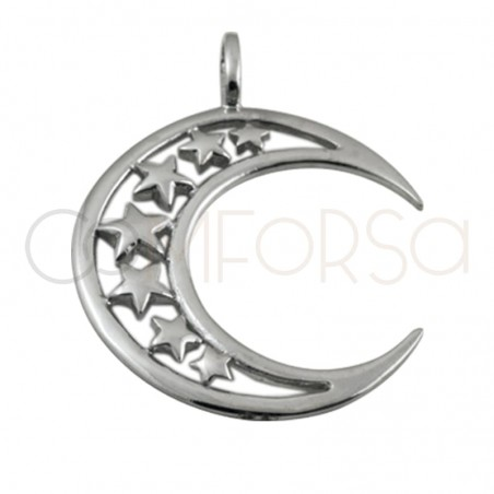 Sterling silver 925 moon and star pendant 25mm