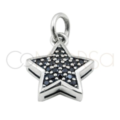 Gold plated silver star pendant black zircons 8 mm