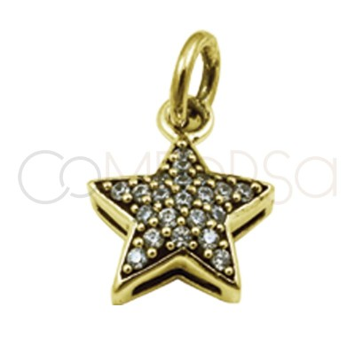 Gold plated silver star pendant zircons 8 mm