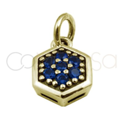 Sterling silver 925 hexagon pendant with sapphire zirconia 8 mm