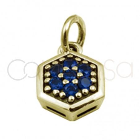 Colgante hexagonal circonitas zafiro 8mm plata 925