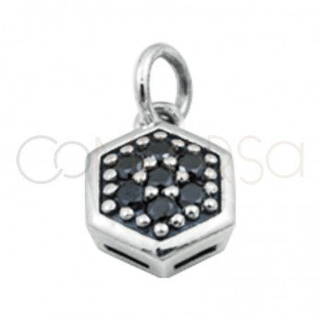 Sterling silver 925 hexagon pendant with black zirconia 8 mm