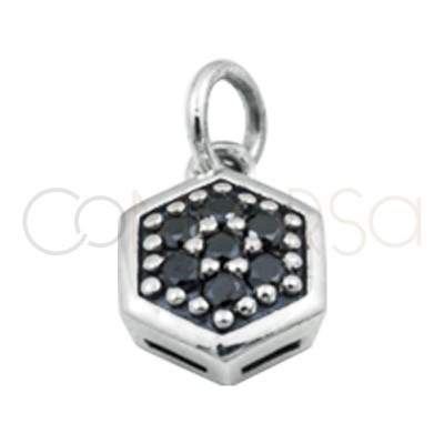 Gold plated silver moon hexagon pendant  black zircons 8 mm
