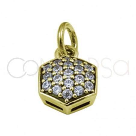 Sterling silver 925 moon hexagon pendant  white zircons 8 mm