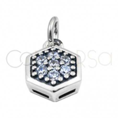 Gold plated silver moon hexagon pendant  white zircons 8 mm