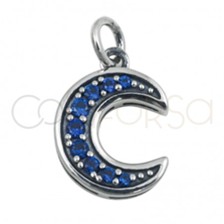 Gold plated silver moon pendant  sapphire 8mm