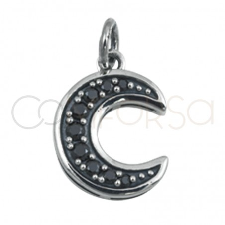 Gold plated silver moon pendant  black zircons 8 mm