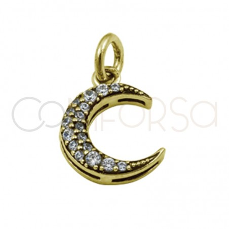 Sterling silver 925 gold-plated moon pendant with zirconia 10.5x14.5 mm