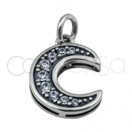 Sterling silver 925 gold-plated moon pendant zirconia 10.5x14.5 mm