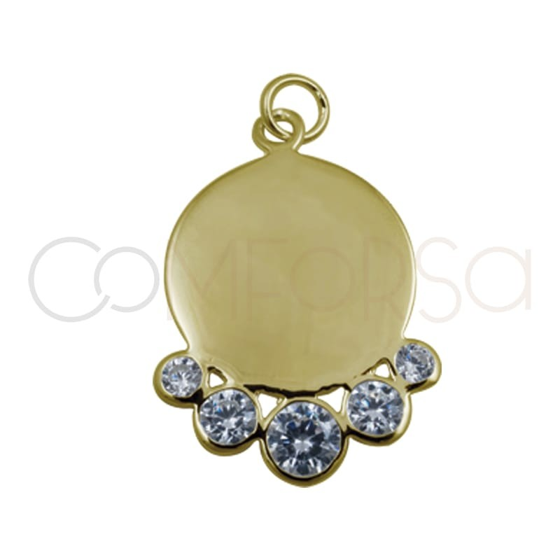Gold plated silver sheet pendant  white zircons 15 mm