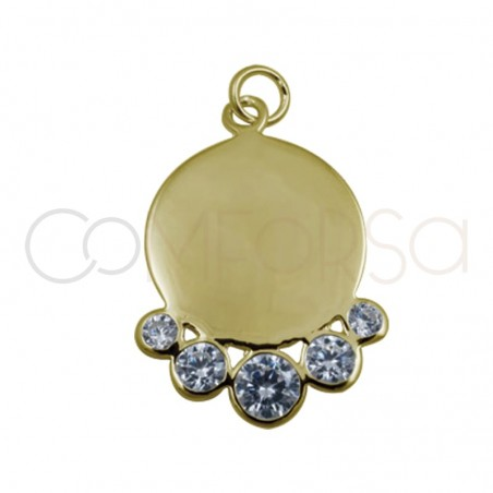 Chapa con circonitas 15 mm plata chapada en oro