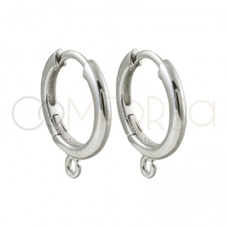Sterling silver 925 gold-plated thick hoop earrings 16 mm