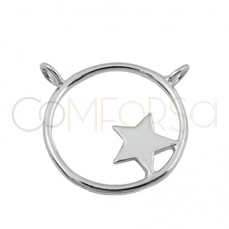 Double ring hoop and star pendant 17mm 925 silver