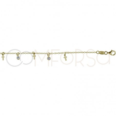 Gold plated silver chaine and zircons 40 cm + 5 mm