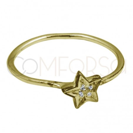 Gold plated silver zirconia star ring