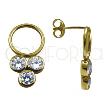Pendientes aro con triple circonita plata chapada en oro