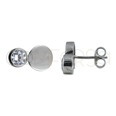 Sterling silver 925 zircons and double sheet earring