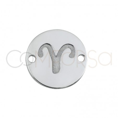 Sterling silver 925 horoscope connector Aries bas-relief 10 mm