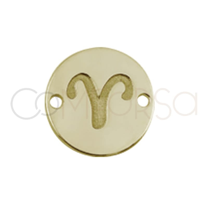 Entrepieza horóscopo Aries bajo relieve 10 mm plata chapada en oro