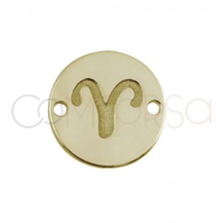 Gold plated silver horoscope connector Aries bas-relief 10 mm