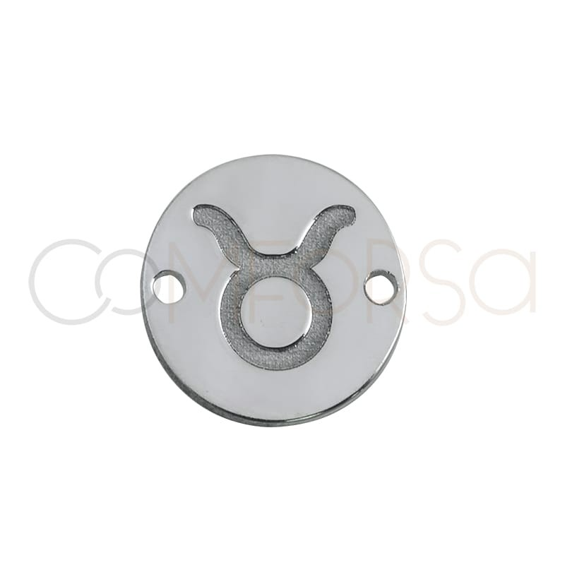 Sterling silver 925 horoscope connector Taurus bas-relief 10 mm