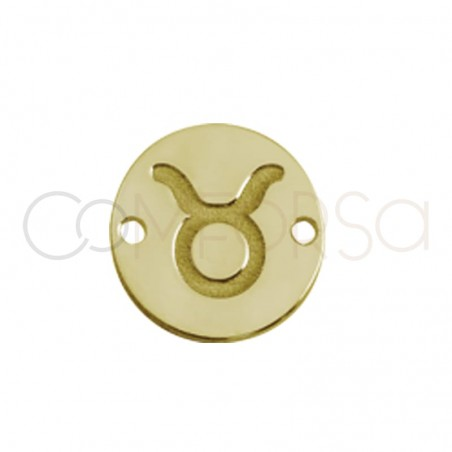 Gold plated silver horoscope connector Taurus bas-relief 10 mm