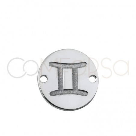 Sterling silver 925 horoscope connector Gemini bas-relief 10 mm