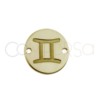 Gold plated silver horoscope connector Gemini bas-relief 10 mm
