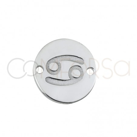 Sterling silver 925 horoscope connector Cancer bas-relief 10 mm