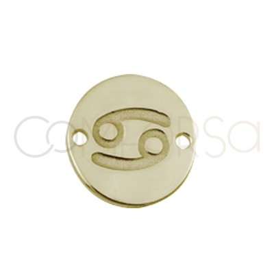 gold plated silver horoscope connector Cancer bas-relief 10 mm