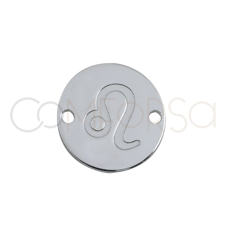 Sterling silver 925 horoscope connector Leo bas-relief 10 mm